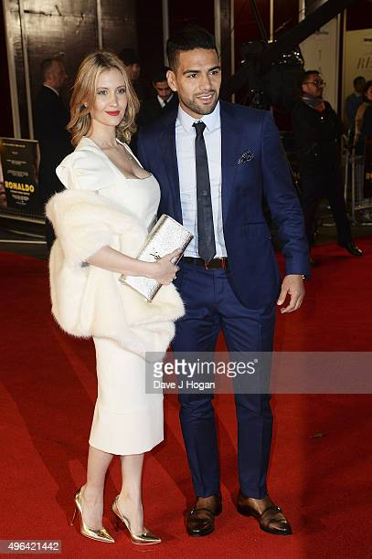 Radamel Falcao and wife Lorelei Taron attend the World Premiere of 'Ronaldo' at Vue West End on November 9 2015 in London England
