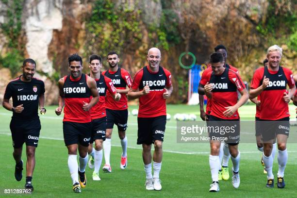Radamel Falcao Andrea raggi Rachid Ghezzal Guido Carrillo and Kamil Glik of Monaco during training session of As Monaco on August 11 2017 in Monaco...