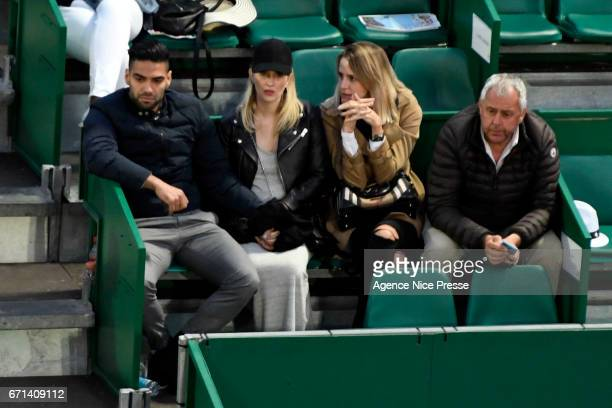 Radamel Falcao As Monaco player with his wife during the Monte Carlo Rolex Masters 2017 on April 21 2017 in Monaco Monaco