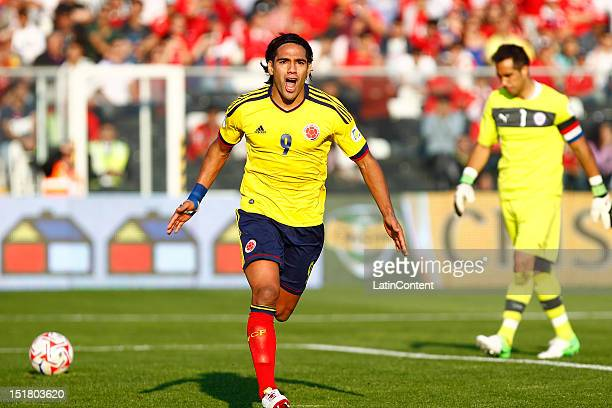 Radamel Falcao celebrates a goal during a match between Chile and Colombia as part of the South American Qualifiers for the FIFA Brazil 2014 World...