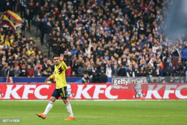 Radamel Falcao during the friendly football match between France and Colombia at the Stade de France in SaintDenis on the outskirts of Paris on March...