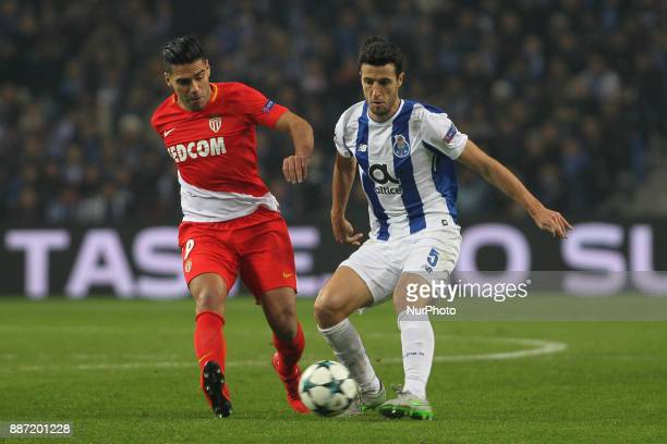 Radamel Falcao forward of AS Monaco FC with Porto's Spanish defender Ivan Marcano during the UEFA Champions League Group G match between FC Porto and...