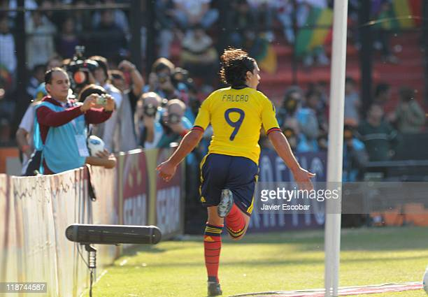 Radamel Falcao, from Colombia, celebrates a scored goal during a match between Colombia and Bolivia for the third round of Group A of Copa America...