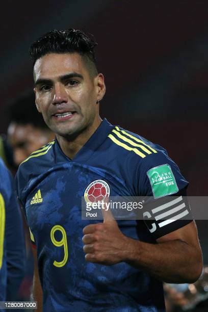 Radamel Falcao García of Colombia celebrates after scoring the second goal of his team during a match between Chile and Colombia as part of South...