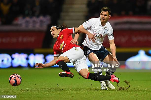 Radamel Falcao García of Manchester United and Bailey Wright of Preston North End battle for the ball during the FA Cup Fifth round match between...