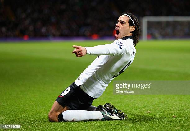 Radamel Falcao García of Manchester United celebrates scoring their first goal during the Barclays Premier League match between Aston Villa and...