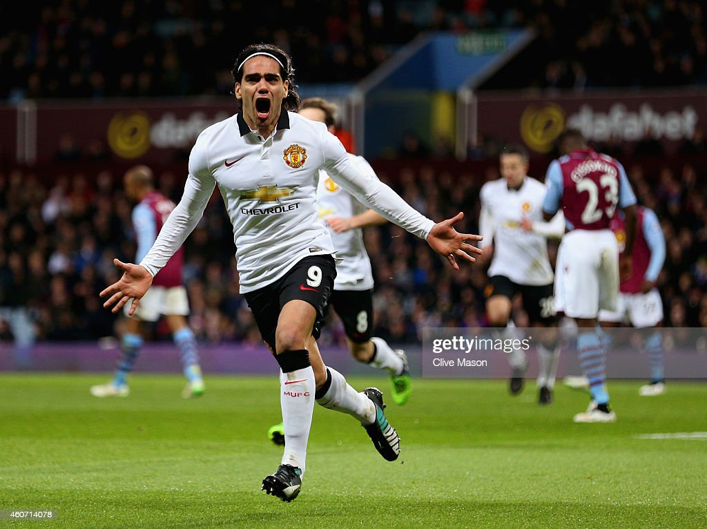 Radamel Falcao García of Manchester United celebrates scoring their first goal during the Barclays Premier League match between Aston Villa and Manchester United at Villa Park on December 20, 2014 in Birmingham, England.