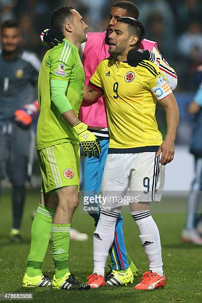 Radamel Falcao Garcia and David Ospina of Colombia look dejected after the 2015 Copa America Chile quarter final match between Argentina and Colombia...