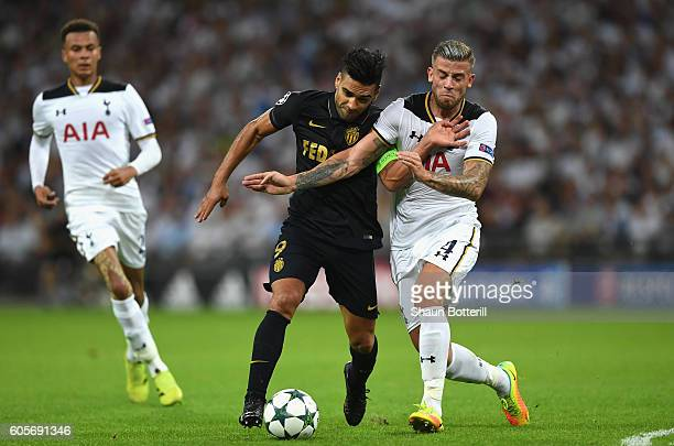 Radamel Falcao Garcia of AS Monaco and Toby Alderweireld of Tottenham Hotspur in action during the UEFA Champions League match between Tottenham...