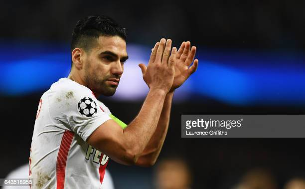 Radamel Falcao Garcia of AS Monaco applauds the crowd after the UEFA Champions League Round of 16 first leg match between Manchester City FC and AS...