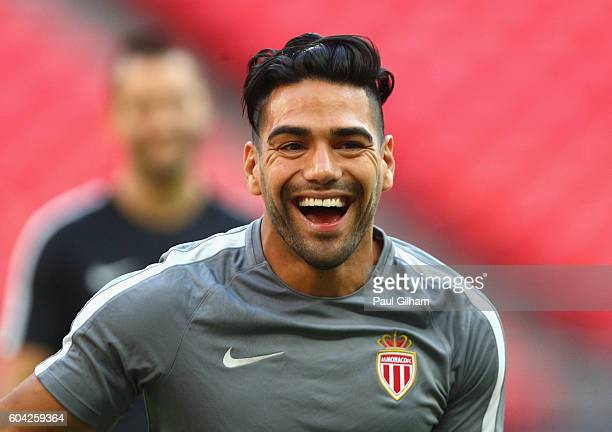 Radamel Falcao Garcia of AS Monaco laughs during the AS Monaco training session ahead of their UEFA Champions League Group E match against Tottenham...