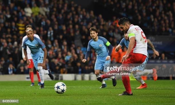 Radamel Falcao Garcia of AS Monaco misses a penalty as it is saved by goalkeeper Willy Cabellero of Manchester City during the UEFA Champions League...