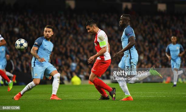 Radamel Falcao Garcia of AS Monaco scores their third goal during the UEFA Champions League Round of 16 first leg match between Manchester City FC...