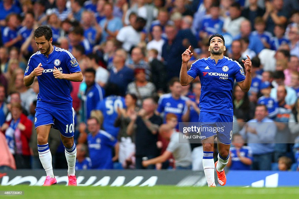 Radamel Falcao Garcia (R) of Chelsea celebrates scoring his team's first goal during the Barclays Premier League match between Chelsea and Crystal Palace at Stamford Bridge on August 29, 2015 in London, England.