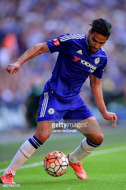 Radamel Falcao Garcia of Chelsea in action during the FA Community Shield match between Chelsea and Arsenal at Wembley Stadium on August 2 2015 in...