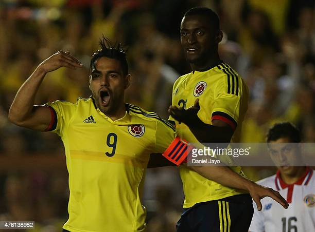 Radamel Falcao Garcia of Colombia celebrates after scoring during a friendly match between Colombia and Costa Rica at Diego Armando Maradona Stadium...