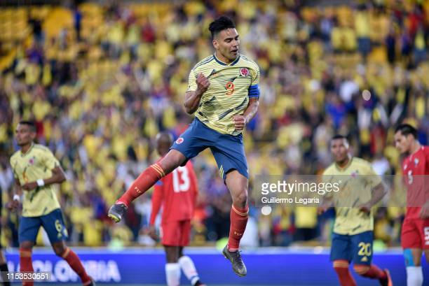 Radamel Falcao Garcia of Colombia celebrates after scoring the third goal of his team during a friendly match between Colombia and Panama at Estadio...