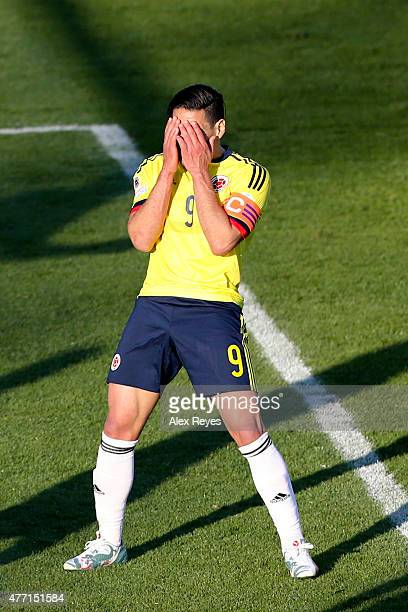 Radamel Falcao Garcia of Colombia laments after missing a chance at goal during the 2015 Copa America Chile Group C match between Colombia and...
