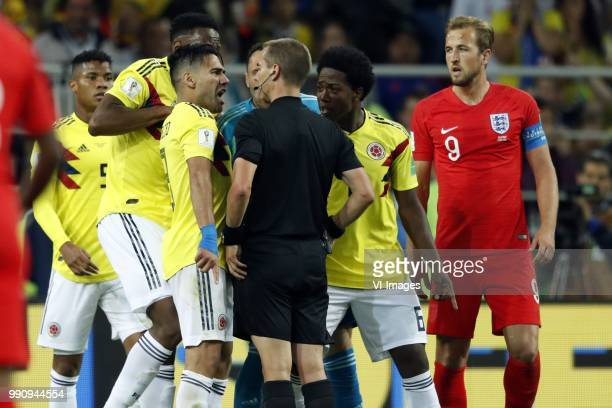 Radamel Falcao Garcia of Colombia referee Mark Geiger Carlos Sanchez of Colombia Harry Kane of England during the 2018 FIFA World Cup Russia round of...