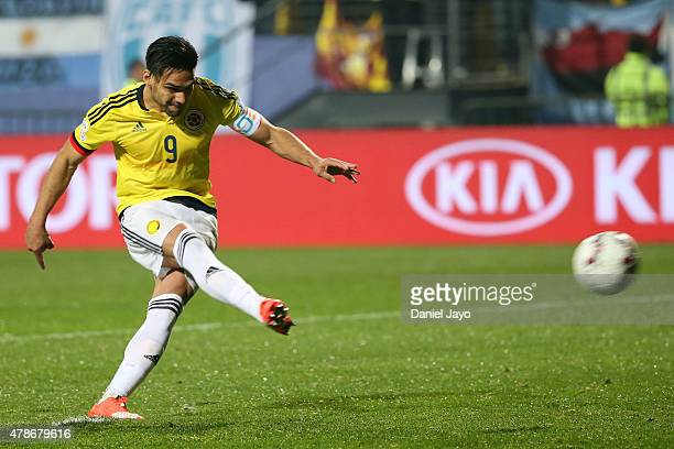 Radamel Falcao Garcia of Colombia takes the second penalty kick in the penalty shootout during the 2015 Copa America Chile quarter final match...