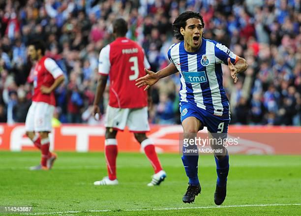 Radamel Falcao Garcia of FC Porto celebrates scoring the opening goal during the UEFA Europa League Final between FC Porto and SC Braga at Dublin...