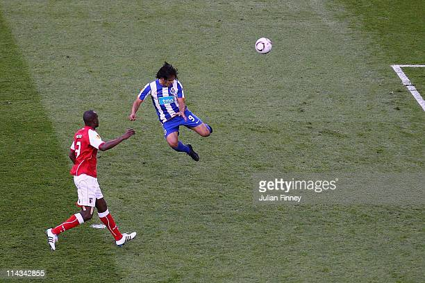 Radamel Falcao Garcia of FC Porto scores the opening goal during the UEFA Europa League Final between FC Porto and SC Braga at Dublin Arena on May 18...