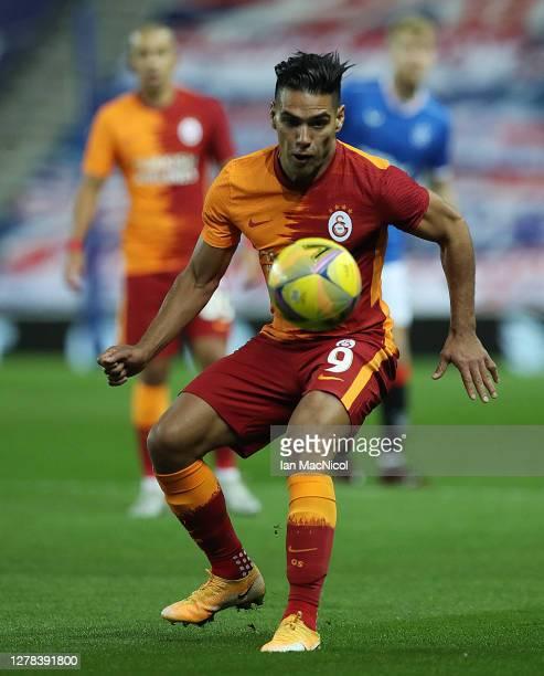 Radamel Falcao Garcia of Galatasaray controls the ball during the UEFA Europa League play-off match between Rangers and Galatasaray at Ibrox Stadium...