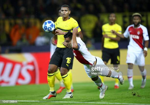 Radamel Falcao Garcia of Monaco and Manuel Akanji of Borussia Dortmund in action during the Group A match of the UEFA Champions League between...