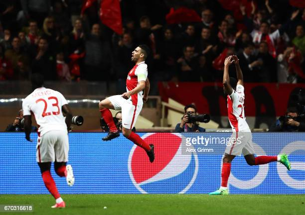 Radamel Falcao Garcia of Monaco celebrates scoring the second goal during the UEFA Champions League Quarter Final second leg match between AS Monaco...
