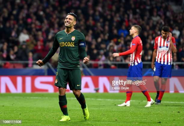Radamel Falcao Garcia of Monaco reacts after missing a penalty during the UEFA Champions League Group A match between Club Atletico de Madrid and AS...
