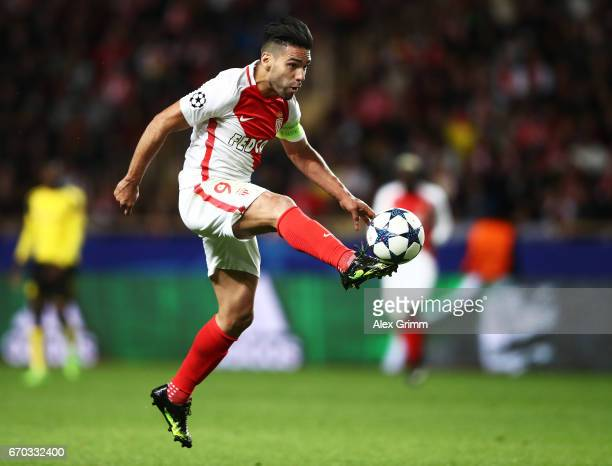 Radamel Falcao Garcia of Monaco takes a shot at goal during the UEFA Champions League Quarter Final second leg match between AS Monaco and Borussia...