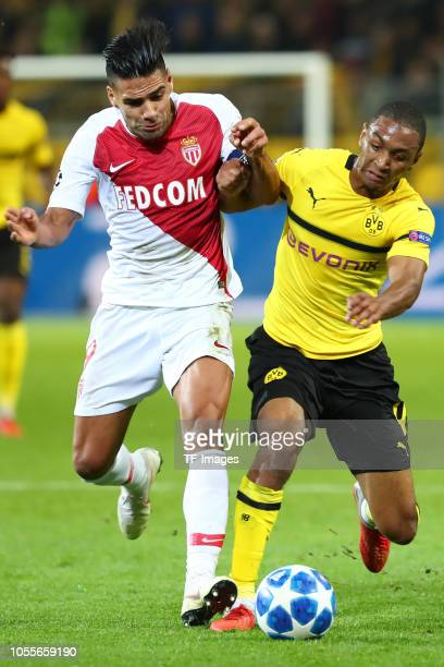 Radamel Falcao Garcia Zarate of AS Monaco and Abdou Diallo of Borussia Dortmund battle for the ball during the Group A match of the UEFA Champions...