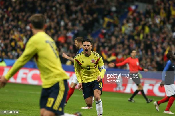 Radamel Falcao goal and James Rodriguez during the friendly football match between France and Colombia at the Stade de France in SaintDenis on the...