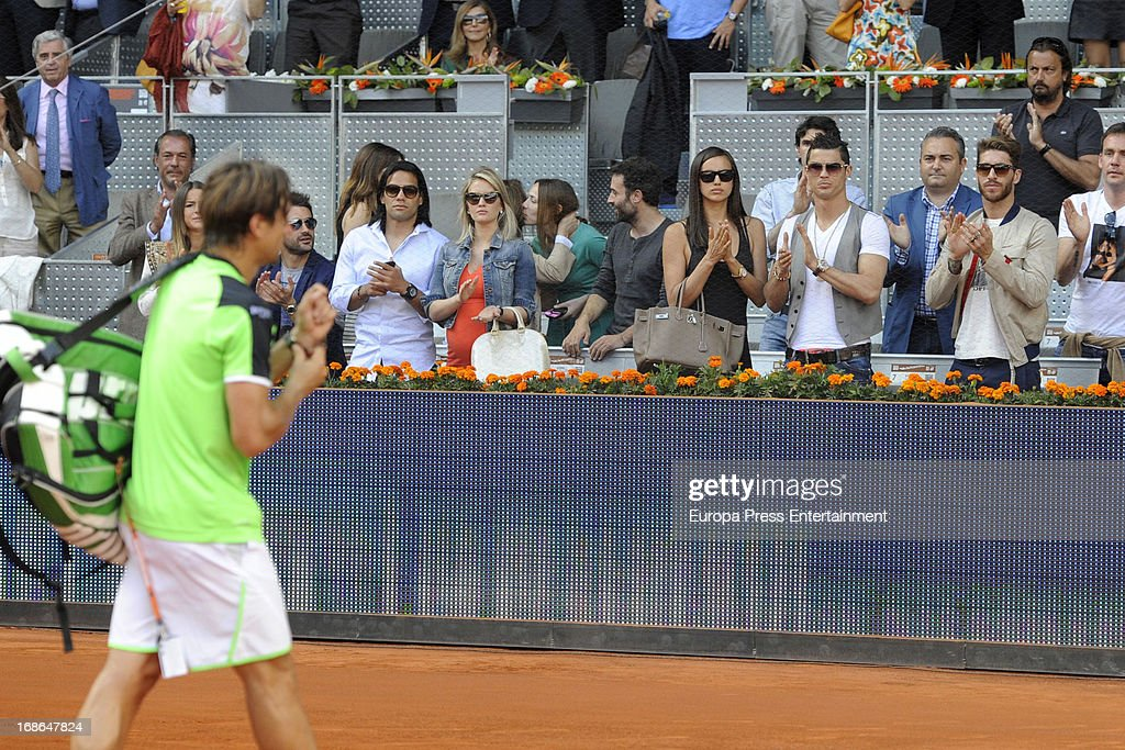 Radamel Falcao, Lorelei Taron, Irina Shayk, Cristiano Ronaldo and Sergio Ramos attend attends the Mutua Madrid Open tennis tournament at La Caja Magica on May 12, 2013 in Madrid, Spain.