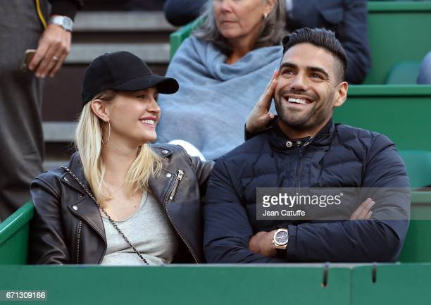 Radamel Falcao of AS Monaco and his wife Lorelei Taron attend Rafael Nadal's match on day 6 of the MonteCarlo Rolex Masters an ATP Tour Masters...