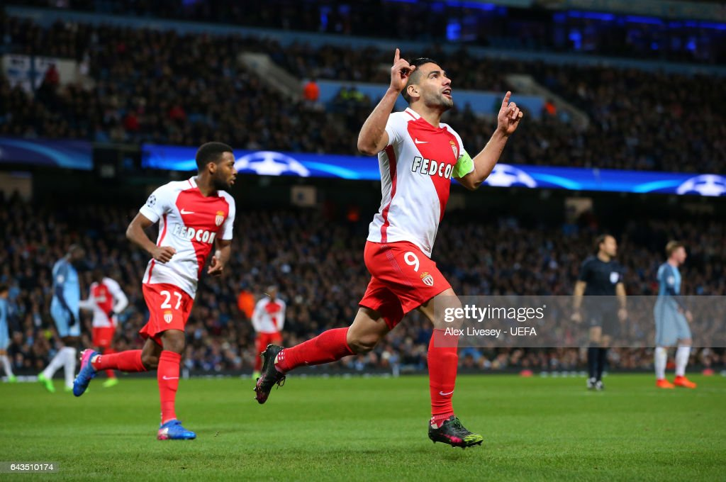 Radamel Falcao of AS Monaco celebrates after scoring their first goal during the UEFA Champions League Round of 16 first leg match between Manchester City FC and AS Monaco at Etihad Stadium on February 21, 2017 in Manchester, United Kingdom.