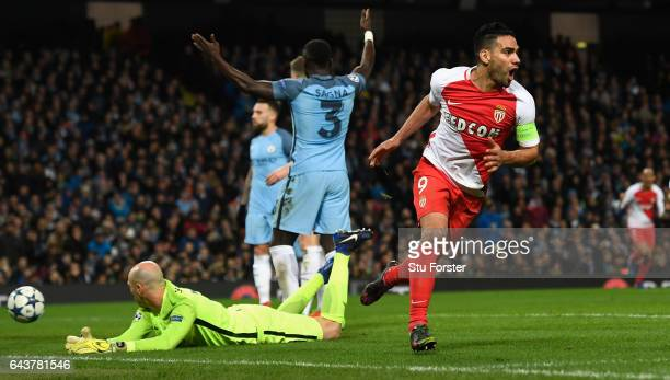 Radamel Falcao of AS Monaco celebrates the first Monaco goal past Willy Caballero during the UEFA Champions League Round of 16 first leg match...