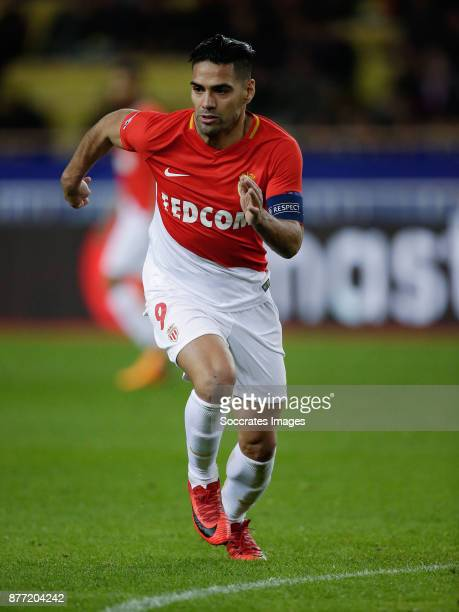 Radamel Falcao of AS Monaco during the UEFA Champions League match between AS Monaco v RB Leipzig at the Stade Louis II on November 21 2017 in Monaco...
