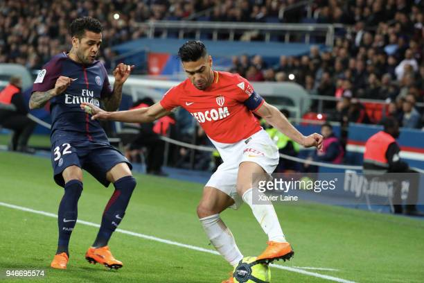 Radamel Falcao of AS Monaco in action against Dani Alves of Paris SaintGermain in action during the Ligue 1 match between Paris Saint Germain and AS...