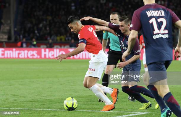 Radamel Falcao of AS Monaco in action during the Ligue 1 match between Paris Saint Germain and AS Monaco at Parc des Princes on April 15 2018 in Paris