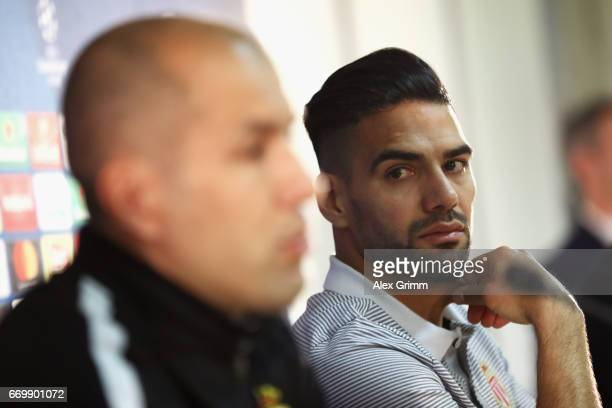 Radamel Falcao of AS Monaco looks on during the AS Monaco Press Conference at the Stade Louis II on April 18 2017 in Monaco Monaco