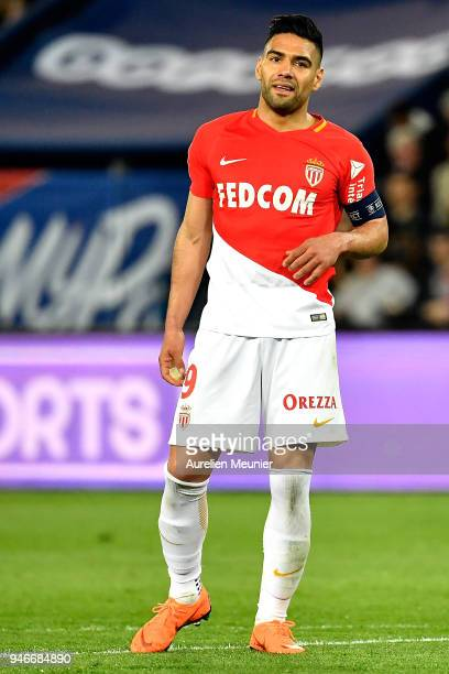 Radamel Falcao of AS Monaco reacts during the Ligue 1 match between Paris Saint Germain and AS Monaco at Parc des Princes on April 15 2018 in Paris