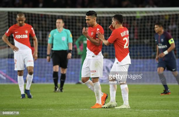 Radamel Falcao of AS Monaco reacts during the Ligue 1 match between Paris Saint Germain and AS Monaco at Parc des Princes on April 15 2018 in Paris