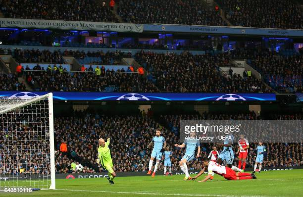 Radamel Falcao of AS Monaco scores their first goal during the UEFA Champions League Round of 16 first leg match between Manchester City FC and AS...