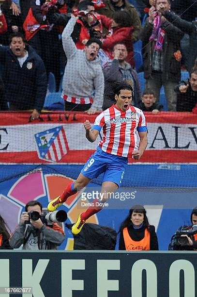 Radamel Falcao of Atletico de Madrid celebrates after scoring his team's opening goal during the La Liga match between Atletico de Madrid and Real...