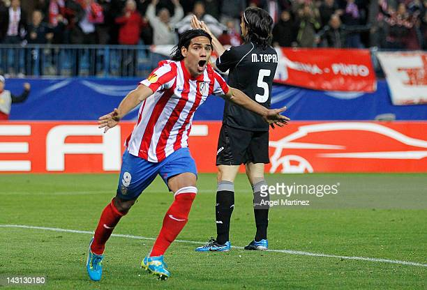 Radamel Falcao of Atletico Madrid celebrates after scoring the opening goal during the UEFA Europa League Semi Final first leg match between Atletico...
