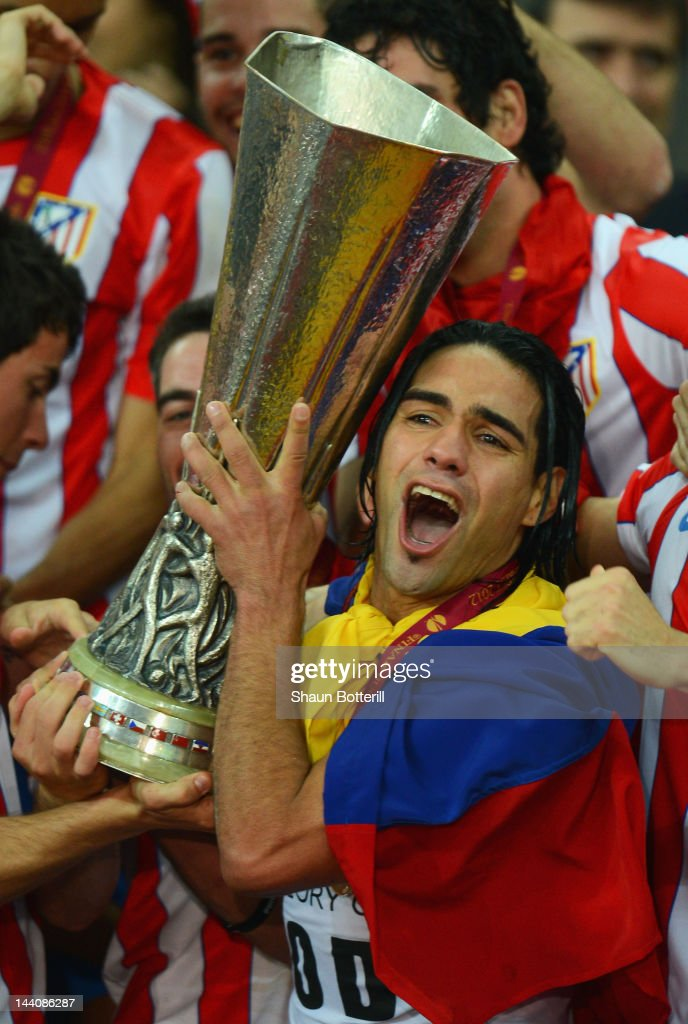 Radamel Falcao of Atletico Madrid holds the trophy with his team mates at the end of the UEFA Europa League Final between Atletico Madrid and Athletic Bilbao at the National Arena on May 9, 2012 in Bucharest, Romania.