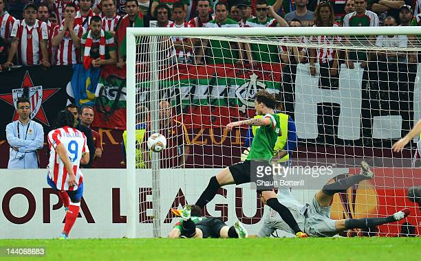 Radamel Falcao of Atletico Madrid scores his team's second goal during the UEFA Europa League Final between Atletico Madrid and Athletic Bilbao at...
