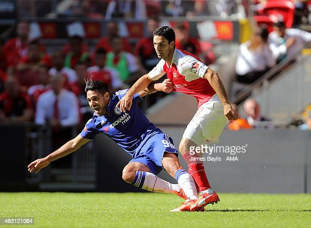 Radamel Falcao of Chelsea and Mikel Arteta of Arsenal during the FA Community Shield match between Chelsea and Arsenal at Wembley Stadium on August 2...