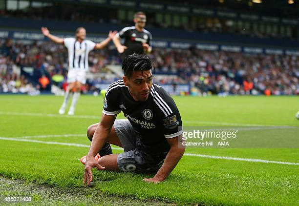 Radamel Falcao of Chelsea slides on the pitch during the Barclays Premier League match between West Bromwich Albion and Chelsea on August 23 2015 in...